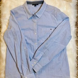 TOMMY HILFIGER Womenswear Blue Striped Shirt